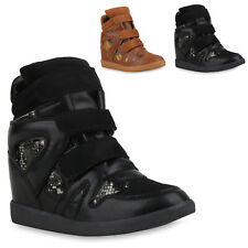 Damen Sneakers Keilabsatz Wedges Stoffschuhe Canvas Chucks