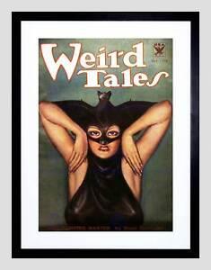 COMIC BOOK COVER WEIRD TALES VAMPIRE WOMAN BAT USA FRAMED ART PRINT B12X6686