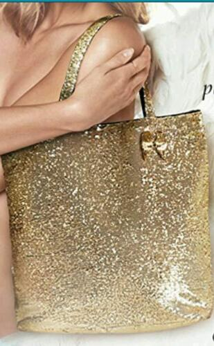 Details about  /Victoria/'s Secret Gold Sequin Tote With Wings Key Chain Bag