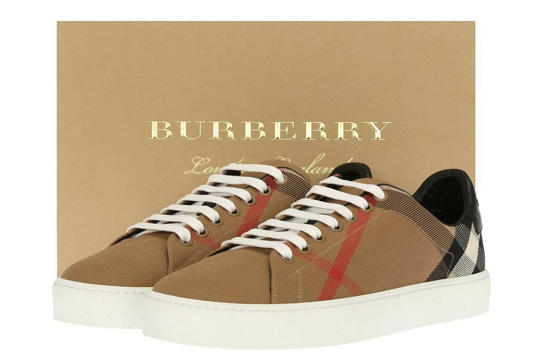 NEW BURBERRY LADIES CHECK SHOES COTTON LEATHER TRAINERS SNEAKERS SHOES CHECK 39/US 9 b49edb