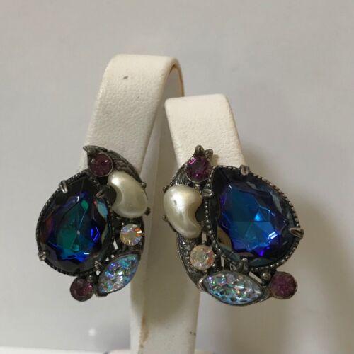 VTG FLORENZA Jeweled Clip-On Earrings - image 1