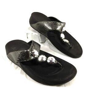 3d3de08b8 Women s FitFlop Flip Flop Sandals Petra Pewter Gray leather Sz 8