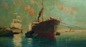 BOATS-AND-PORT-OIL-ON-CANVAS-CATALAN-SCHOOL-SIGNED-SPAIN-XIX-CENTURY