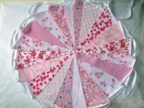 80ft24m PINK . FLORAL .BUNTING WEDDINGS vintage shabby chic handmade PINK 80.
