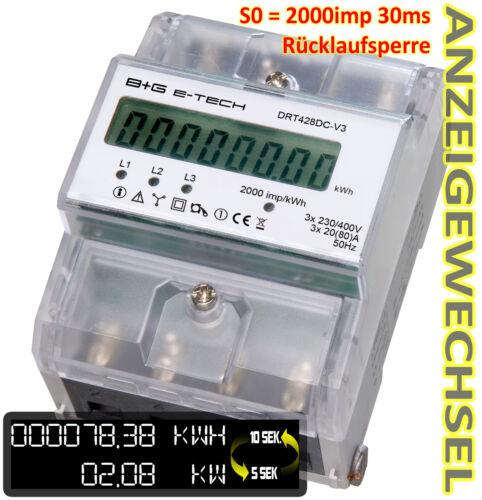 Numérique 3 Ph A Pour Hutschiene avec s0 et retour de verrou triphasé compteur 20 80