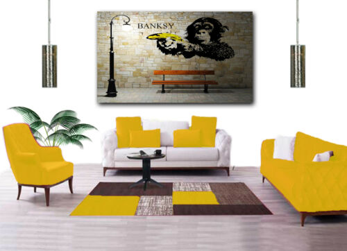 MONKEY  WITH BANANA GUN BY BANKSY  PHOTO  PRINT ON FRAMED CANVAS WALL ART