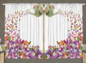 image is loading flowers kitchen curtain panel set butterflies watering can - Window Decor
