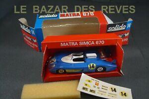 SOLIDO FRANCE. MATRA 670 longue. Le Mans 1972. REF: 14 + Boite.
