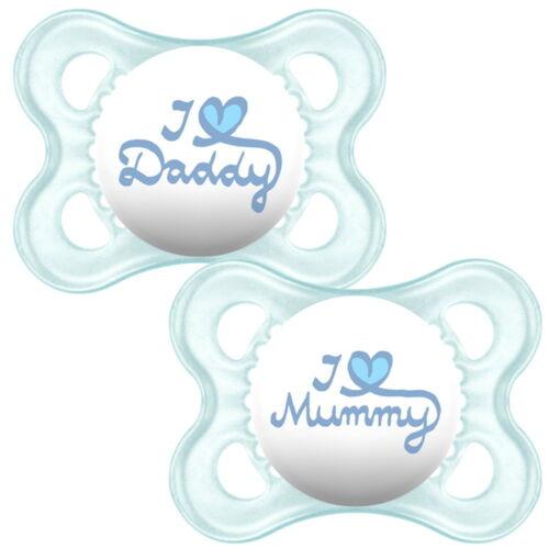 6-12 Monate rosa+blau Nuckel I Love Mummy 0-6 MAM 2 Schnuller I Love Daddy