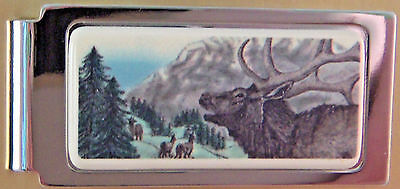 Money Clip Barlow Photo Reproduction in Color Moose Hinged Silver 526609c NEW