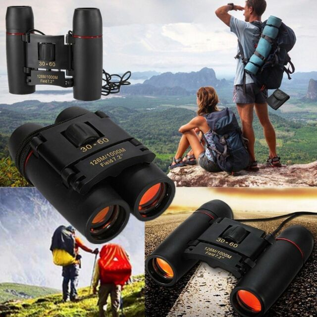 Portable Mini Binoculars 30 x 60 Zoom Outdoor Travel Folding Telescope Black