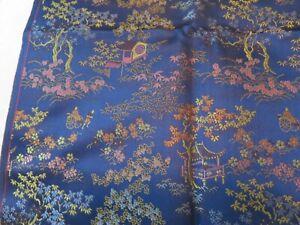 Vintage-Japanese-Silk-Royal-Blue-Bonsai-Reverse-Pattern-Fabric-62x27