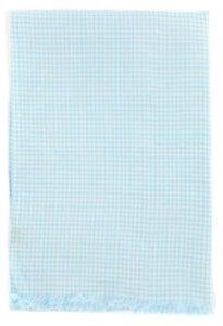 Neuf Luigi Borrelli Clair à Carreaux Bleu Longue Écharpe - 68.6cm x 147cm - (