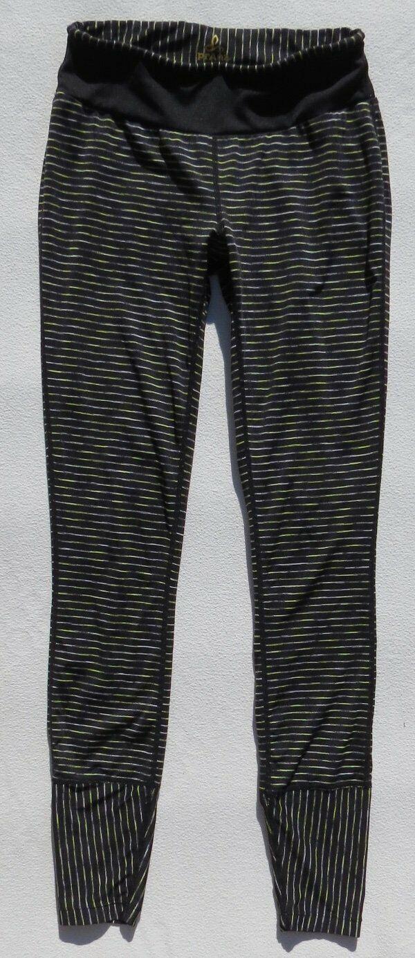 prAna Schwarz Neon Weiß Space Dye Streifen Saphir Leggings Yoga Sz XS Voll Länge