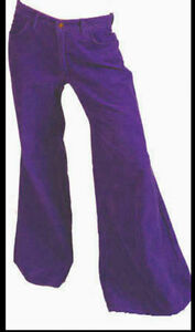 Image Is Loading All Sizes 1970s NEW Wide Purple Cord FLARES