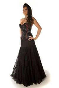 Burleska Plus Size Rara Black Satin /& Mesh Gothic Long Skirt 1X 2X 3X