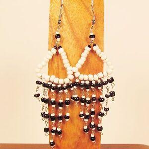 3-034-LONG-Handmade-Black-amp-White-Chandelier-Style-Dangle-Seed-Bead-Earring
