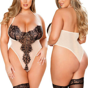 Image is loading Womens-Plus-Size-Playwears-Loose-Lace-Lingerie-Sexy- 4ec8295c6