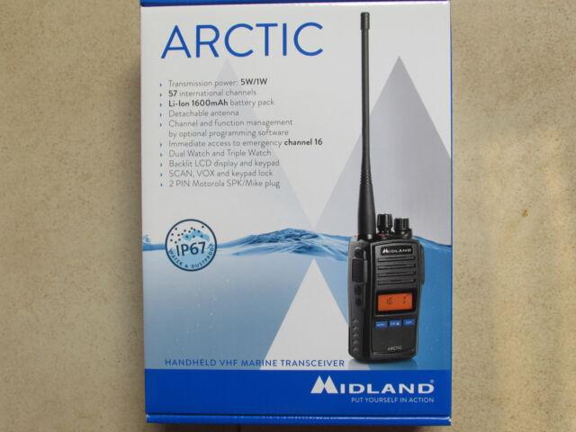 MIDLAND Arctic UKW Seefunk Handfunkgerät 5W MARINE BOOT Jacht Angler Funkgerät