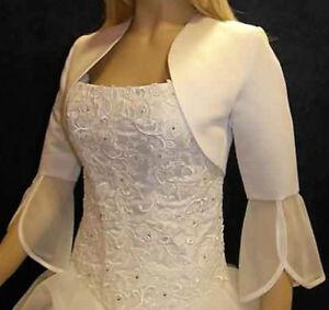 ❤ Braut Bolero Brautjacke weiß ivory 36  42 44  60 Chiffon z Brautkleid