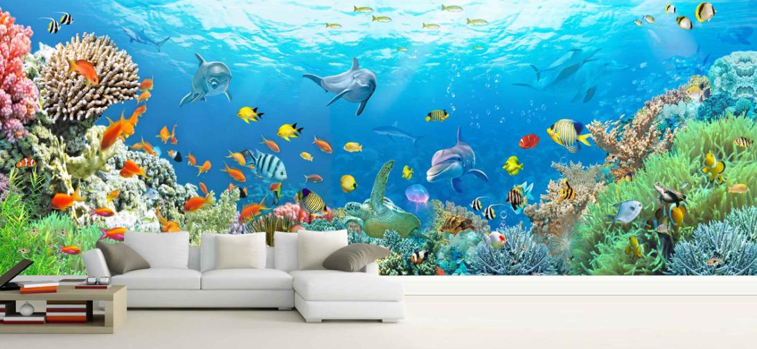 3D Corals Dolphins 988 Wall Paper Murals Wall Print Wall Wallpaper Mural AU Kyra