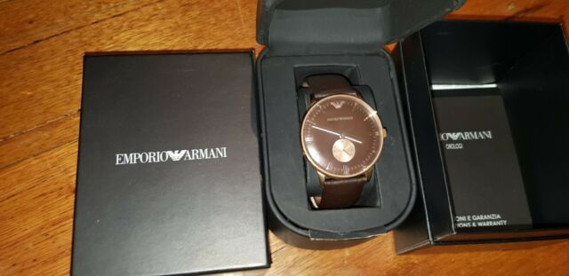 New Emporio Armani Mens Watch Gianni Brown Leather Strap & Dial Rose Trim AR0383