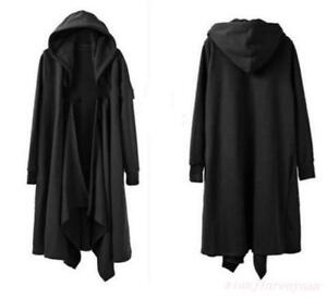 Gothic-Mens-Black-Punk-Hooded-Cloak-Cape-Trench-Coat-Loose-Long-Casual-Jacket