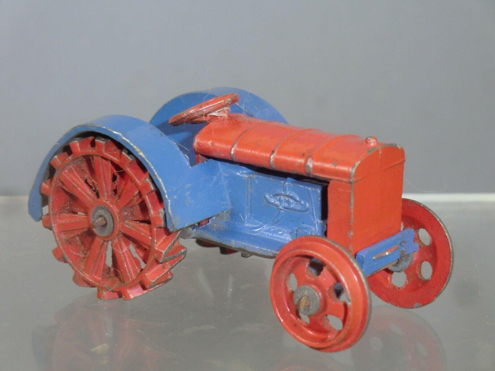 Vintage Dinky Juguetes Modelo No.22e Tractor de granja (versión azul y rojo)
