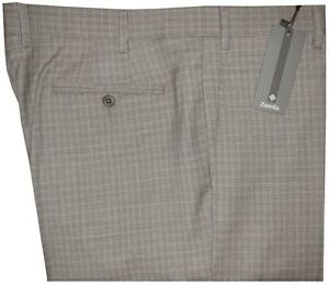 345-NWT-ZANELLA-ITALY-NORDSTROM-DEVON-TAN-BROWN-HOUNDSTOOTH-PLAID-130-PANTS-40