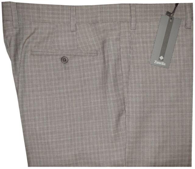 $345 NEW ZANELLA NORDSTROM DEVON TAN BROWN HOUNDSTOOTH PLAID 130'S WOOL PANTS 36