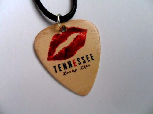 Tennessee Lucky labios doble cara Collar De Cuero //// Plectro de Guitarra Pick