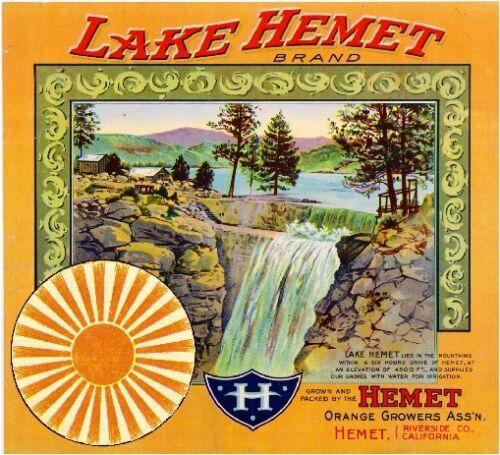 Riverside County Lake Hemet #2 Orange Citrus Fruit Crate Label Art Print Hemet