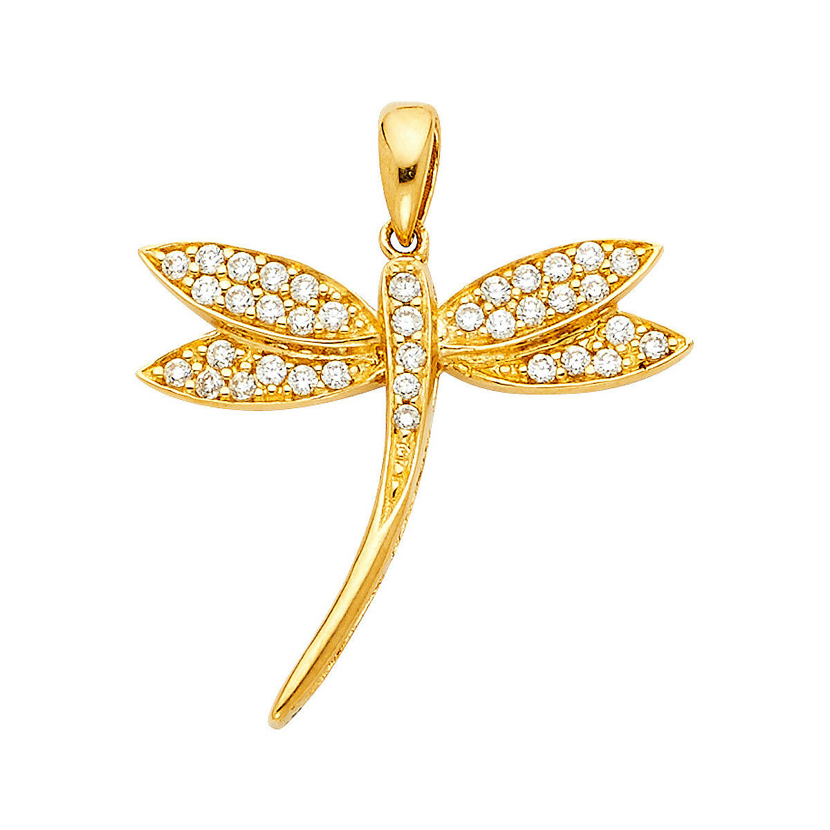 14K Solid Yellow gold CZ Dragonfly Pendant For Men Women CZ Dragonfly Pendant