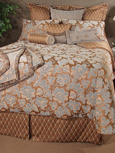 Bedding Inspirations nouveaucastle Queen Comforter Set Ensemble marron and bleu NIP