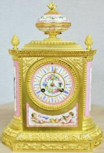 Amazing Antique French 8 Day Bronze Ormolu & Pink Sevres Porcelain Mantle Clock