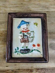 Vintage-Napco-style-Ceramic-Japan-Wall-Plaque-signed-Norton-Boy-Holding-cat-4X5