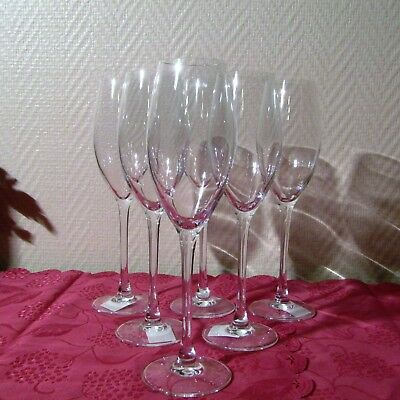 Glass 6 Champagne Flutes Crystal D'arques From Model Wine Emotion Signed f Other Art Glass