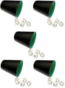 5x-Wuerfelbecher-aus-Kunstleder-mit-25-Wuerfel-Knobelbecher-Knobel-Maexchen