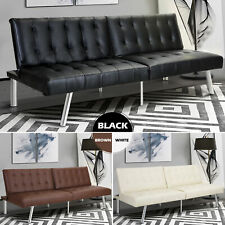 Modern Sleeper Leather Sofa Bed Convertible Lounge Couch Living Room Guest Futon