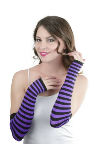 ToBeInStyle Women/'s Striped 100/% Nylon Arm Length Warmers Free Shipping