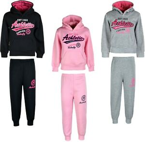 Girls Kids Winter Warm 2 Piece Hooded Top /& Joggers Sports Jog Suits Tracksuits