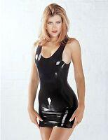 Latex Rubber Mini Dress Sharon Sloane Fetish Wear Black Sexy | UK | Sizes 8-16