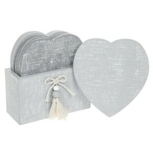 Set-of-6-Provence-Cool-Grey-Heart-Wooden-Coasters-in-Holder-Shabby-Chic-Gift