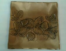 RARE SQUARE BRONZE HAND MADE BY NATALE  DECORATIVE PLATE STRAWBERRY COIN DISH US