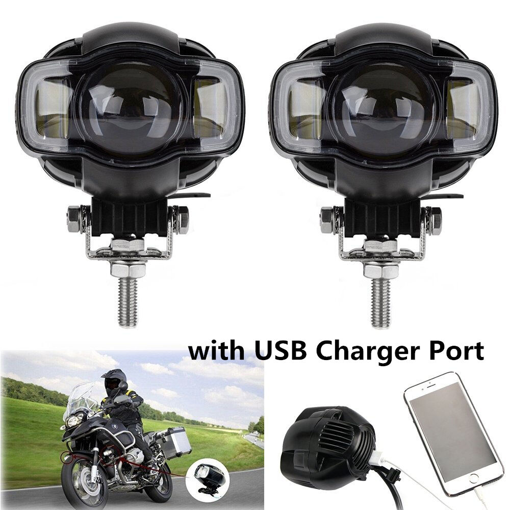 2x CREE Motorcycle LED Spot Light Driving  Fog Lamp DRL White USB Port Waterproof  good reputation
