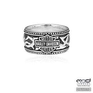 HARLEY-DAVIDSON-Ring-925-Silber-HD-TRIBAL-B-amp-S-BAND-Herren-Gr-US-09-19-mm