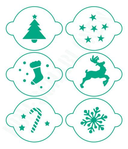 Galerías de símbolos set ● 6 motivos navidad 02 ● para café ● galletitas o bricolaje