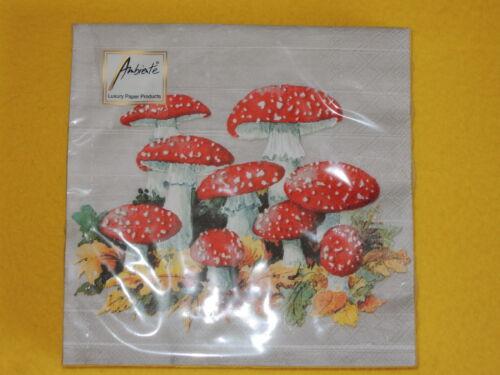 1 Packung 20 Servietten Fliegenpilze Herbst Laub Pilze  rot grau VIELE AGARICS