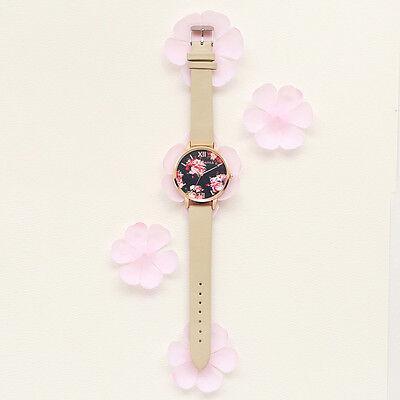 Women's Leather Stainless Steel Floral Wrist Watch Ladies Analog Quartz Watches