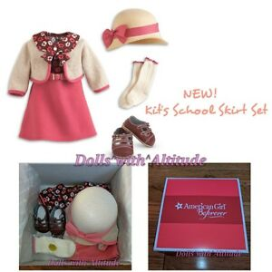 NEW-American-Girl-KIT-039-S-SCHOOL-SKIRT-SET-Sweater-Dress-Hat-Outfit-Shoes-for-Doll